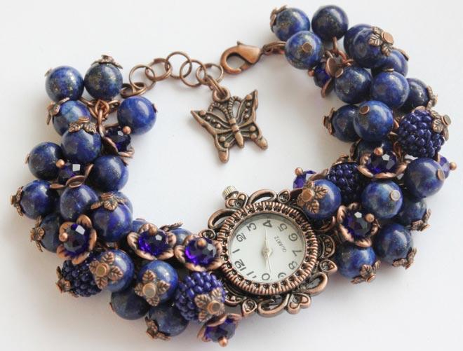 Часы с полудрагоценными камнями
