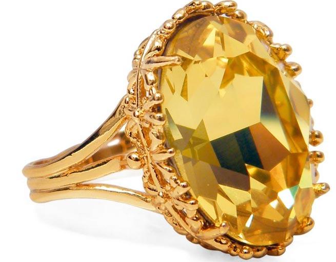 Кольцо с жёлтым камнем